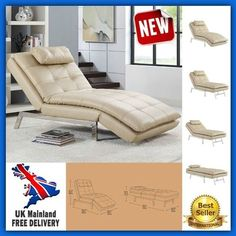 Cream Leather Folding Chairbed Recliner Relax Lounger Day Bed Convertible Chaise