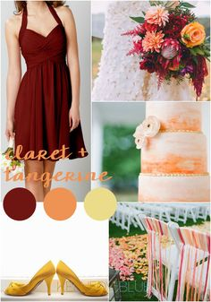 A colorful wedding palette of claret and tangerine | Pantone Wedding Colors for Spring 2015