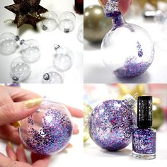 Who needs Xmas decorations when you can make your own – Rimmel style! Easy Christmas Ornaments, Christmas Arts And Crafts, Handmade Christmas, Holiday Crafts, Christmas Crafts, Christmas Christmas, Christmas Gifts For Coworkers, Homemade Christmas Gifts, 242