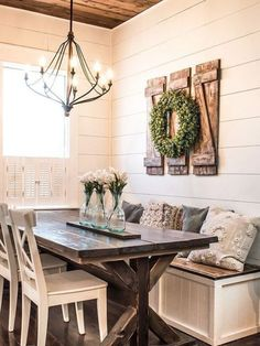 Cute Neutral Farmhouse Dining Nook With A Built-In Bench Plus A Wooden Table And. Cute Neutral Farmhouse Dining Nook With A Built-In Bench Plus A Wooden Table And White Chairs Farmhouse Dining Room Table, Farmhouse Bedroom Decor, Dining Nook, Dining Decor, Farmhouse Kitchen Decor, Dining Room Design, Nook Table, Dining Tables, Built In Bench