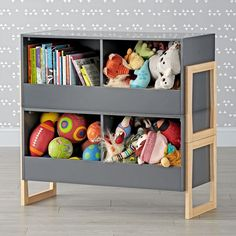 Level Up 2-Bin Stackable Charcoal Toy Box