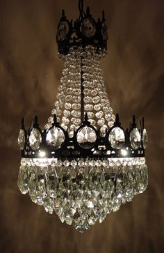 Antique French Basket Style Brass Crystals Chandelier 1950 S