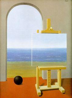 """rene-magritte- """"la condition humaine de Magritte exposé les elements.m.ch.cauvy"""