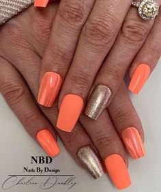 "@charleen_dunkley shared a photo on Instagram: ""I love a bright set of nails! ☀️ #orange #orangenails #aurora #chrome #rosegold #matt #nailsnailsnails💅 #gel #lovemyjob #naillifestyle…"" • Jul 24, 2020 at 6:00am UTC"