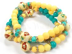 $12 Floral Beaded Bracelet Set Bracelet Trio by RandRsWristCandy