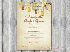 Wishes for the bride and groom card Autumn by MagicalPrintable
