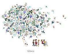 Birdie tree watercolor by Anna Emilia Laitinen