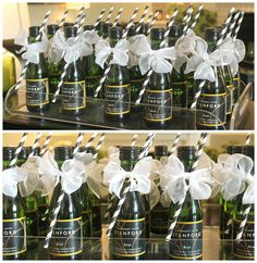 REMINDED ME OF SHANNON! Bridal shower party favors: small bottles of champagne with a straw.but who would really drink champagne with a straw? Champagne Party, Champagne Bottles, Wedding Favours, Party Favors, Wedding Ideas, Wedding Gifts, Bridal Shower Party, Bridal Showers, Baby Showers