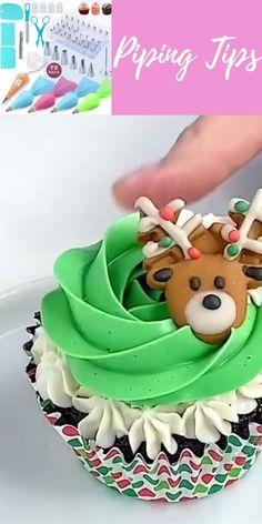 Cake Frosting Designs, Cupcake Cake Designs, Buttercream Cupcakes, Cupcake Cakes, Christmas Cupcakes, Christmas Desserts, Christmas Baking, Easy Cake Decorating, Cake Decorating Techniques