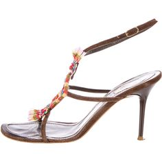 Pre-owned Rene Caovilla Embellished Sandals ($95) ❤ liked on Polyvore featuring shoes, sandals, blue, suede sandals, ankle tie sandals, rene caovilla shoes, brown suede sandals and multi color sandals