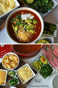 Here's the ultimate chili recipe to help you bring home the Chili Cook-off grand prize. This is a super simple beef chili with a few surprise ingredients to set it apart from the rest. The Texas Sized Chili Bar includes Mexican Cheeses, sour cream, avocado, fresh lime, cilantro, green onion and tortilla strips. Your guests can make their own custom handcrafted chili bowls. This recipe is a hands down favorite!