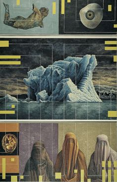 Trittico, 2000, olio su lino, cm 312 x 200.