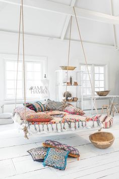 Your colorful Bohemian style pillow throw covers and floor cushions decor-interior design-home decor and accents idea! #interiordesign #interior #livingroom