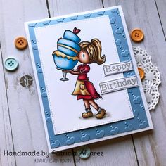Birthday card using a baker girl clear stamp from kindacutebypatricia. Colored with prismacolor pencils  #kindacutebypatricia #prismacolorpencils