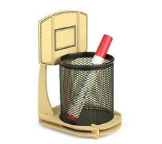 Wooden Basketball Stand Shape Pen Holders