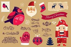 Beautiful Christmas collection by MoleskoStudio on Creative Market