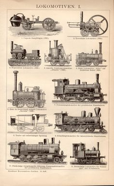 1898 Locomotives Antique Print Vintage Lithograph by Craftissimo