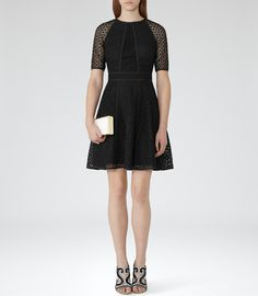 Womens Black Textural Overlay Dress - Reiss Bounty