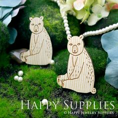 2Pcs Large Handmade Lovely Bear Charms / Pendants (LC025)