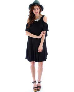 Sun Kissed Shoulders Tunic Dress In Black