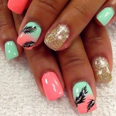There are three kinds of fake nails which all come from the family of plastics. Acrylic nails are a liquid and powder mix. They are mixed in front of you and then they are brushed onto your nails and shaped. These nails are air dried. Feather Nail Designs, Feather Nail Art, Cute Nail Designs, Feather Design, Beach Nail Designs, Coral Nail Designs, Nail Designs For Kids, Coral Nails With Design, Tropical Nail Designs