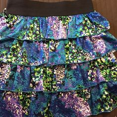 Colorful ruffle skirt Excellent condition. Very soft AGB Skirts