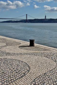 "The famous Portuguese cobblestone pavement (""calçada"") in Belém, Lisbon… Most Beautiful Cities, Beautiful Places To Visit, Places To See, Visit Portugal, Portugal Travel, Sierra Nevada, Portsmouth, Malaga, Brighton"