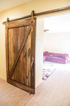 Porter Barn Wood: Custom Z-Brace Sliding Barn Door made with Reclaimed Tobacco Barn Brown barn wood.  #porterbarnwood #barnwood #reclaimed #rustic #distressed #patina #decor #design #forthehome #homedesign #interiorhome #doorideas