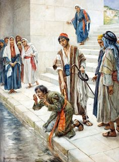 After Jesus heals a man born blind on the Sabbath, the Pharisees attack the man and Jesus. Jesus gives a discourse on spiritual blindness. Bible Photos, Bible Pictures, Jesus Pictures, Church Pictures, Religious Pictures, Religious Art, Christian Artwork, Christian Pictures, Sketches