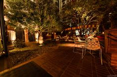 Tucked away behind some office buildings, lies this hidden oasis which is ready to host your next party. Brisbane Cbd, Function Room, Office Buildings, Party Venues, Outer Space, Oasis, Espresso, Table Decorations, Outdoor Decor