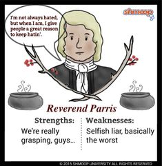 Everything you ever wanted to know about Reverend Parris in The Crucible, written by masters of this stuff just for you. Gcse Drama, Witch Trials, Ela Classroom, High School English, English Literature, Special Education, Thunder, Philosophy, Hate