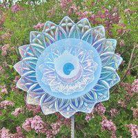 Purple Garden Art Yard Decor Glass Plate Flower Upcycled Repurposed ...