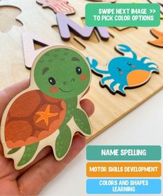 Sea animals theme Baby Gift - Ocean Birthday - Girl Name Puzzle - Gift for Godchild - New Baby Boy - Baptism Gift - Woodily Toys / ss24. Our Personalized ocean themed name puzzles are designed to fuel imagination, inspire exploration and encourage the natural curiosity that leads to a lifetime of learning. #montessoritoy #woodentoy