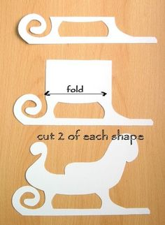 Sleigh template..will try this year!right? This makes a pretty little sleigh that can be filled with candies or pine cones,etc.There is a free tutorial for putting it all together and decorating!