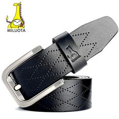 [MILUOTA] 2016 Mens Belts Luxury High Quality Cow Genuine Leather Belts for Men Fashion Designer Jeans Strap Male MU062