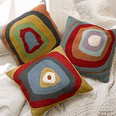 3 Circles Cushions Bold chainstitch cushions evoking Kandinsky's 'Farbstudie Quadrate', hand-sewn in wool with cotton backing and with feather pad. Large Cushion Covers, Outdoor Cushion Covers, Textiles, Textile Patterns, Pillow Embroidery, Cross Stitch Embroidery, Decorative Cushions, Decorative Pillow Covers, Pillow Covers Online