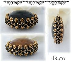 Seed bead jewelry Bezel a cabochon or pebble - schema & approach (translate) ~ Seed Bead Tutorials Discovred by : Linda Linebaugh Seed Bead Patterns, Beaded Jewelry Patterns, Beading Patterns, Bracelet Patterns, Seed Bead Jewelry, Bead Jewellery, Seed Beads, Fuse Beads, Beading Projects