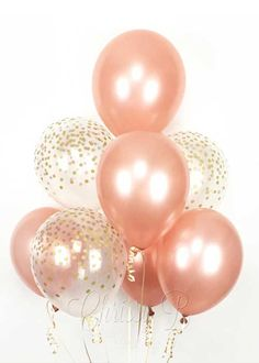 rose gold and clear confetti balloons Birthday Roses, Gold Birthday Party, 70th Birthday Parties, Birthday Party Invitations, 40th Birthday Balloons, Gold Party, Clear Balloons With Confetti, Glitter Balloons, Gold Confetti