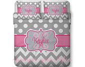 Polka dot and Chevron Duvet with 2 Matching Shams -  Pink and Gray Monogrammed Bedding - Personalize with Name or Monogram - Create your Bed - pinned by pin4etsy.com