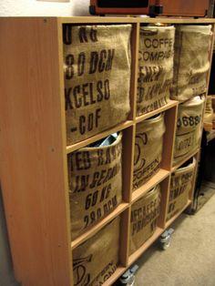 DIY bins covered with coffee sacks. great idea!!!!