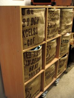 DIY bins covered with coffee sacks. great idea!!!!