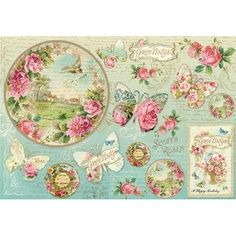 Greetings, butterfly, clock Decoupage Rice Paper - Stamperia | Decoupage Designs USA