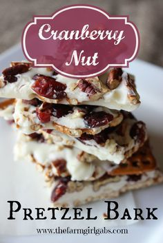 Cranberry Nut Pretzel Bark is an addictive and easy to make candy treat. This recipe is perfect for gift-giving at Christmas or any time of the year.