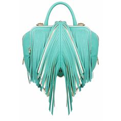 The Volon Shu-shu Mint Fringe Small Handbag ($1,067) ❤ liked on Polyvore featuring bags, handbags, shoulder bags, mint, handbags purses, leather purse, hand bags, leather fringe purse and leather shoulder handbags