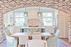 I love the look and feel of this faux brick archway. Maybe for the kitchen or main entryway. to faux brick walls. House Design, House, Interior, Home, New Homes, House Interior, Home Kitchens, Fake Brick Wall, Interior Design