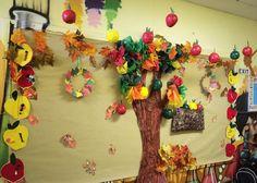 Fall bulletin board . Autumn leaves and apple trees!