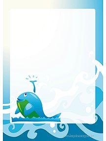 Papier à lettre bleu avec une gentille baleine à imprimer