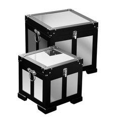 Pandora Storage Trunks, Set of 2, Wood/Mirrored