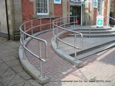 Associated Ornamental offers iron works in Ft Worth, TX. Handicap Ramps, Handicap Accessible Home, Stepping Stone Walkways, Wooden Walkways, Ramp Design, Railing Design, Disabled Ramps, Porch With Ramp, Access Ramp