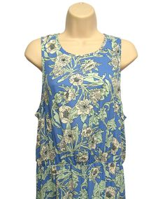 H&M Blue Green White Shift Dress Floral Print Round Neck Sleeveless 12 Tall New #HM #Shift #Casual